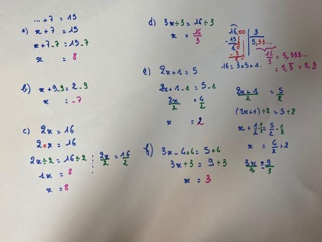 correction équations