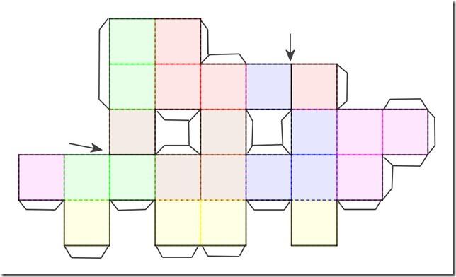patron de cube avec des demis carrés[1]
